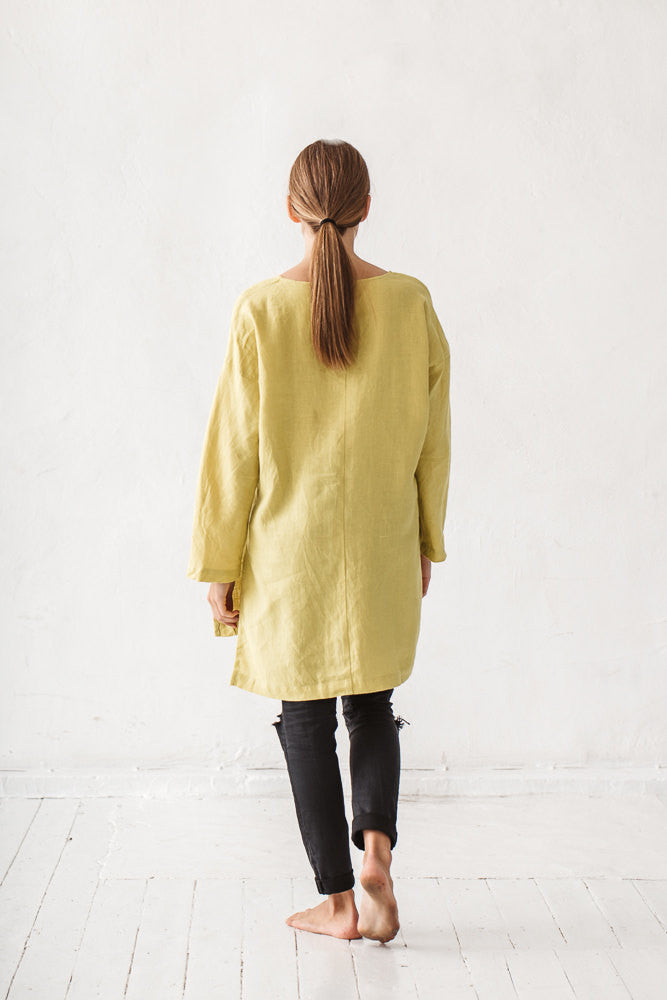 The Cathryn linen tunic (lime yellow)