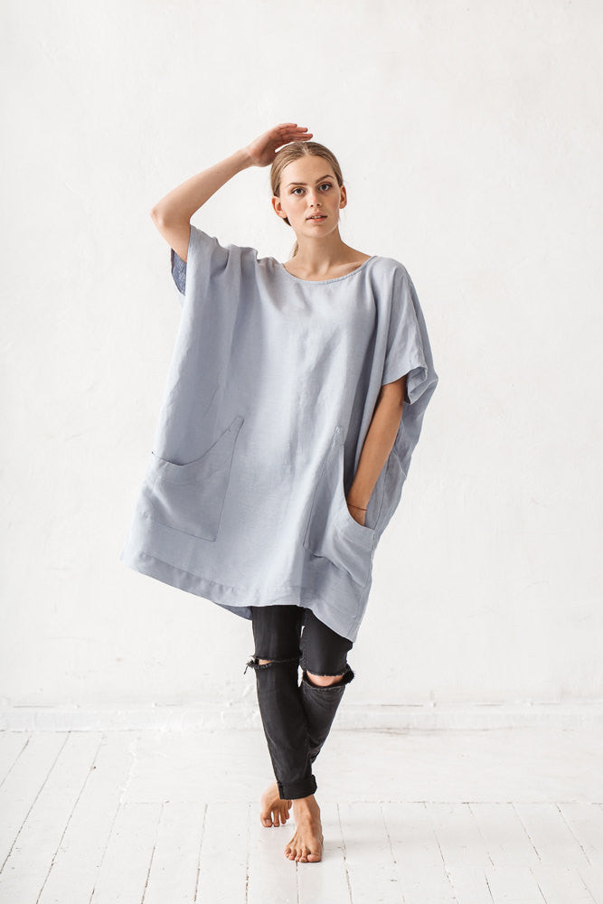The Carlie linen tunic (dusty blue)