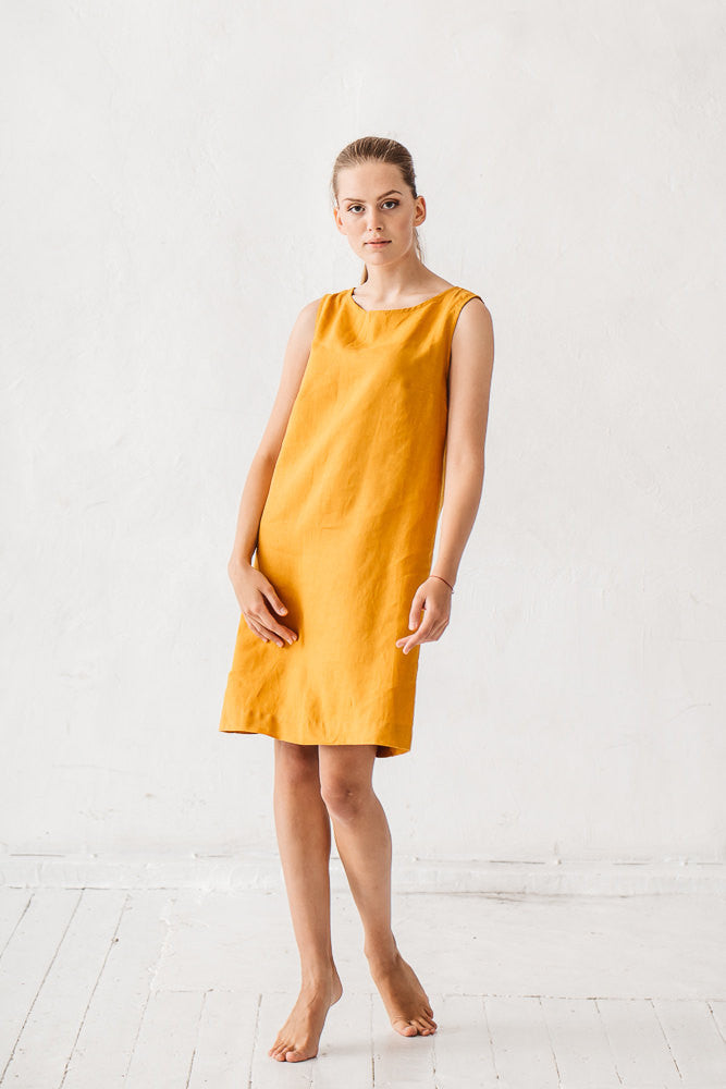 The Ayesha linen dress (mustard yellow)