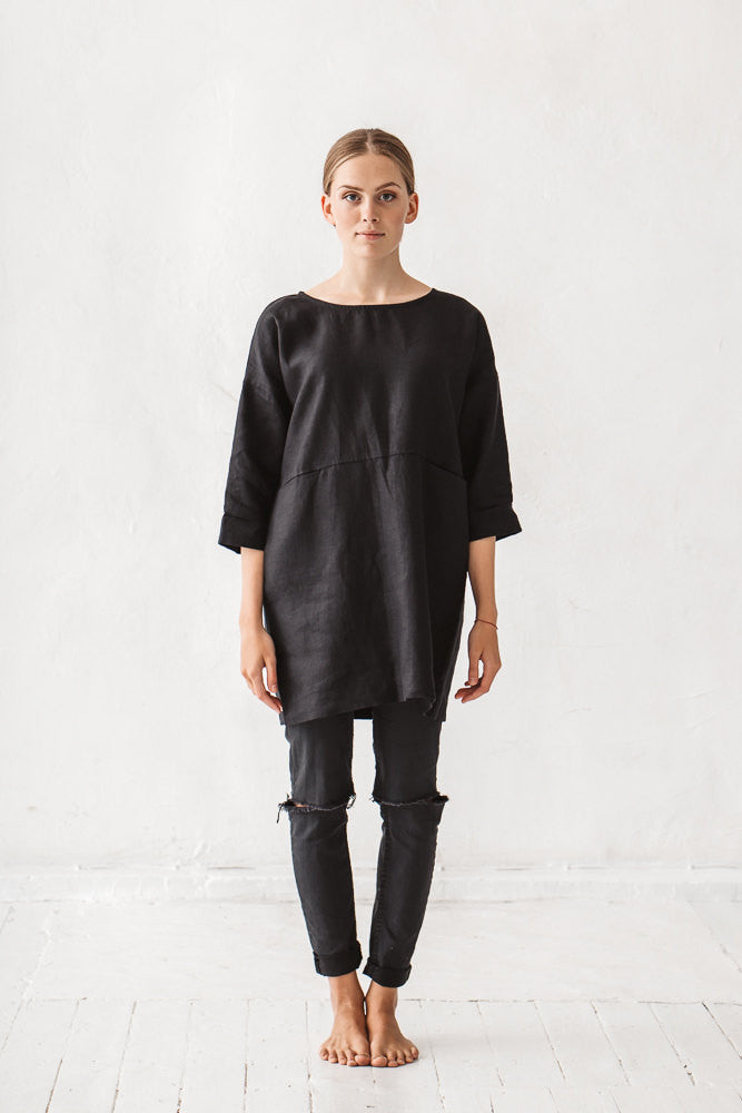 The Cassey linen tunic (black)