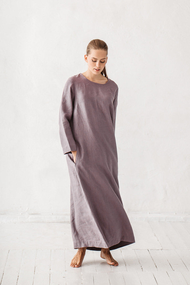 The Anastacia linen dress (dusty lavender)