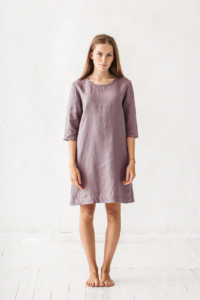 The Adrianna linen dress (dusty lavender)