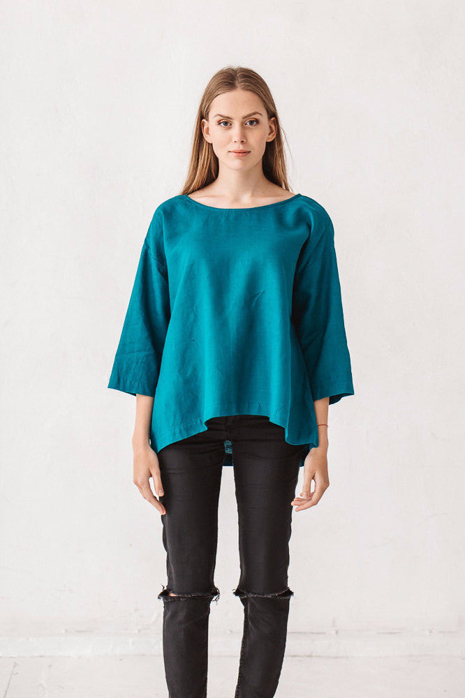 The Claudia linen tunic (teal blue)