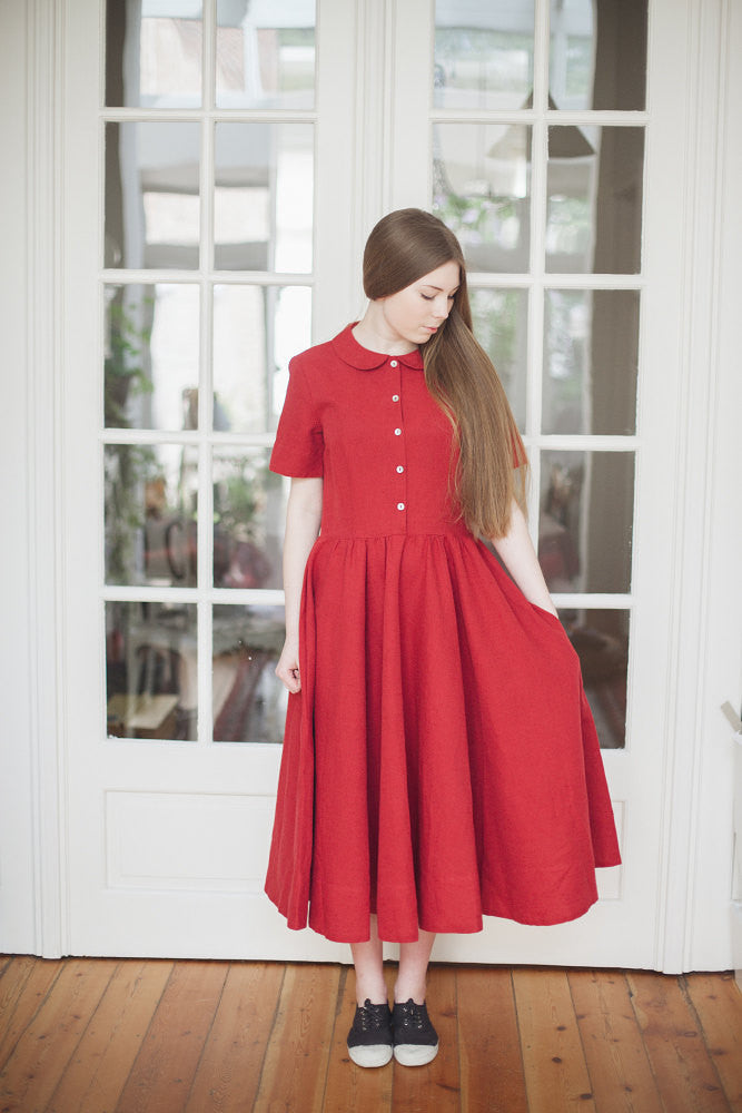 The Annabelle linen romantic dress (red)