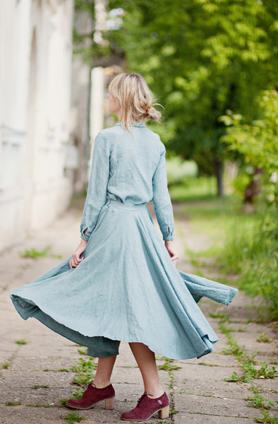The Blair linen classic skirt (turquoise blue)