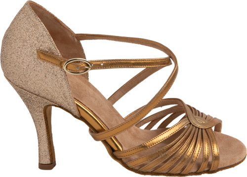 Energy Ladies Latin Dance Shoes Bronze Leather & Glitter - Anita Flavina