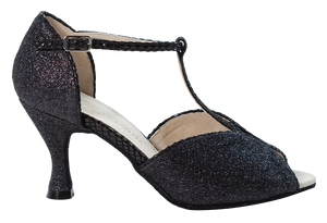 Megan - Ladies Social Dance Shoes - Black Glitter & Leather ~ PRE-ORDER NOW FOR DELIVERY WEEK 24TH FEBRUARY