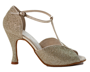 Megan - Ladies Social Dance Shoes - Gold Glitter & Stain ~ PRE-ORDER NOW FOR DELIVERY WEEK 24TH FEBRUARY