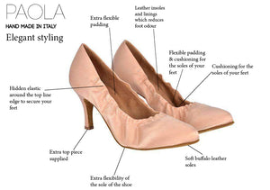 Paola - Ladies Ballroom Shoes - Nude Satin