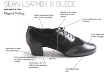 Load image into Gallery viewer, Sean - Men's Latin Dance Shoes - Black - Suede Leather and Leather