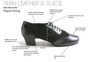 Sean - Men's Latin Dance Shoes - Black - Suede Leather and Leather