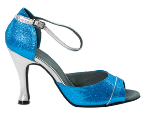 Shine - Ladies Social Dance Shoes - Turquoise Blue Glitter & Sliver Leather ~ PRE-ORDER NOW DELIVERY WEEK 24TH FEBRUARY
