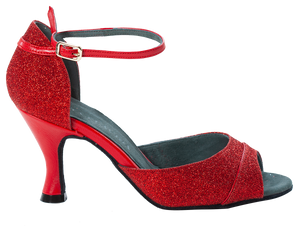 Shine - Ladies Social Dance Shoes - Red Glitter & Leather ~ PRE-ORDER NOW DELIVERY WEEK 24TH FEBRUARY