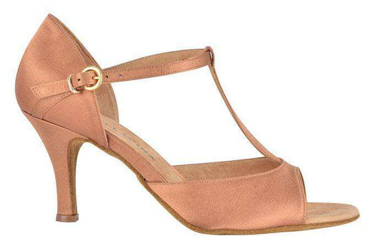 Esther Ladies Latin Dance Shoes - Dark Nude Satin - Anita Flavina
