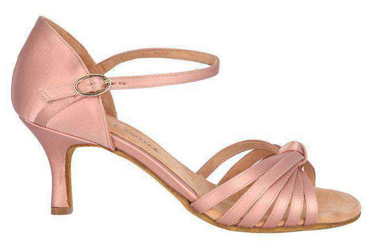 Kristi - Ladies Latin Dance Shoes - Nude Satin - Anita Flavina