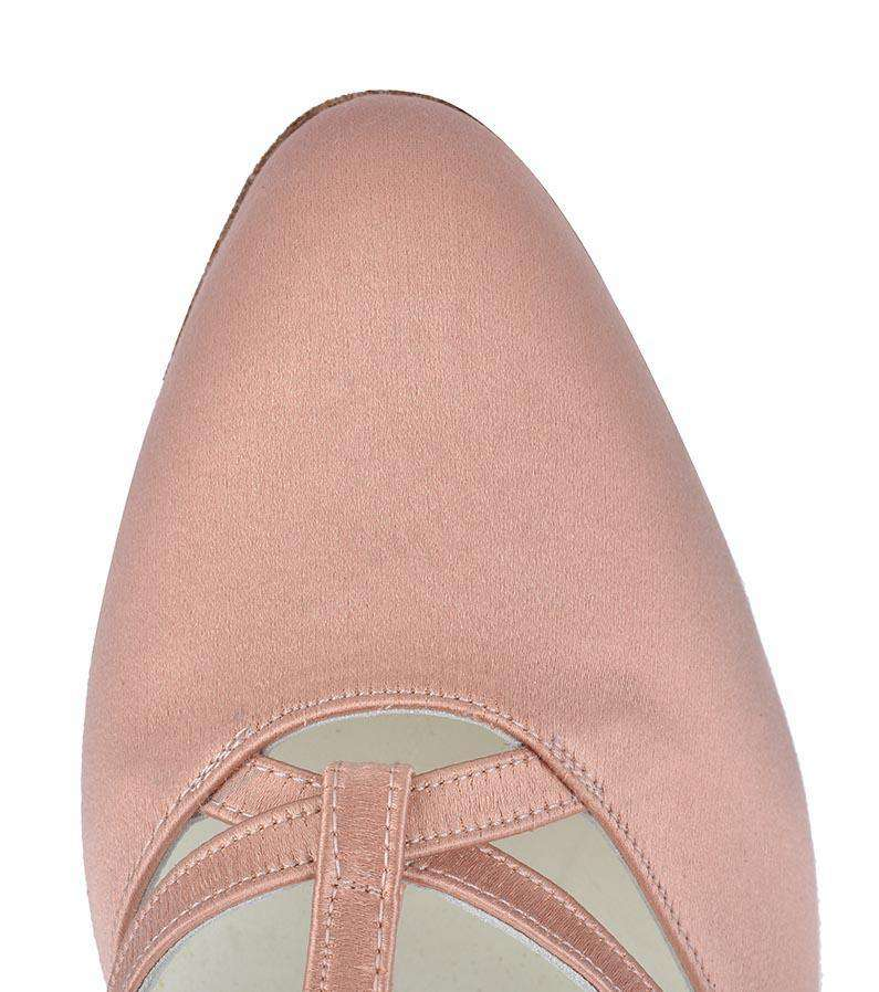 Stefania - Ladies Social Dance Shoes - Flesh Silk - Anita Flavina
