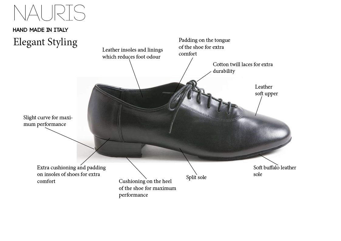 Nauris Leather Men's Ballroom Dance Shoes - Anita Flavina