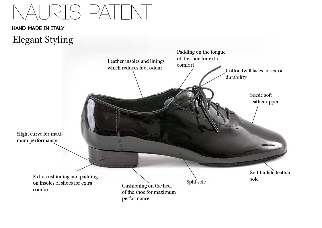 Nauris Patent Men's Ballroom Dance Shoes - Anita Flavina