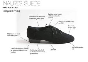 Nauris - Men's Ballroom Dance Shoes - Black - Suede Leather