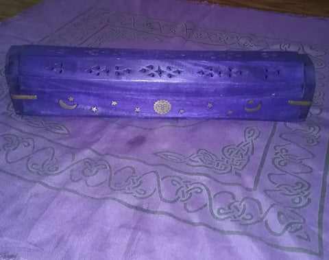 MOON AND STARS COFFIN BOX INCENSE BURNER