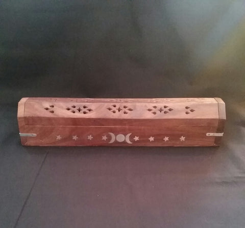 TRIPLE MOON GODDESS COFFIN BOX INCENSE BURNER
