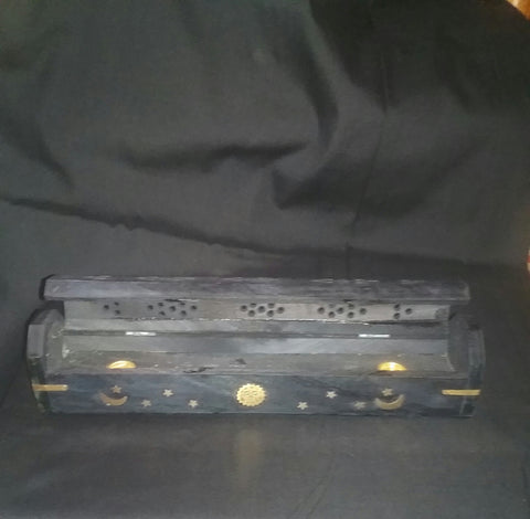 COFFIN BOX BLACK INCENSE BURNER