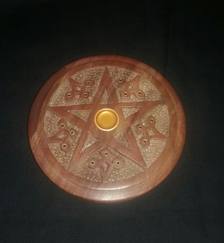 WOODEN CONE/ STICK INCENSE BURNER/ ALTAR TILE