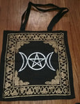PENTACLE TRIPLE MOON GOLD AND BLACK TOTE BAG