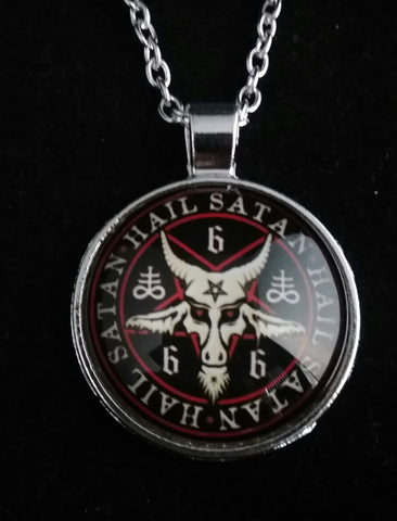 RED AND BLACK HAIL SATAN NECKLACE