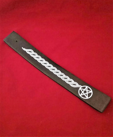 INCENSE BOAT BURNER- BLACK/PENTACLE