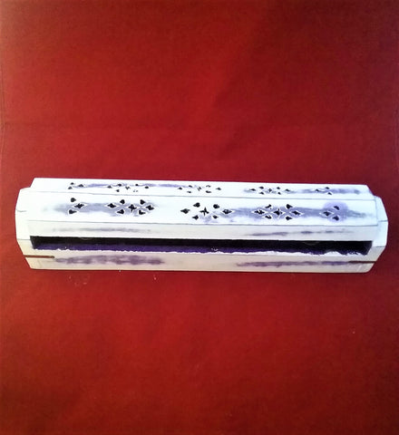 COFFIN BOX INCENSE BURNER- PURPLE WHITE WASH