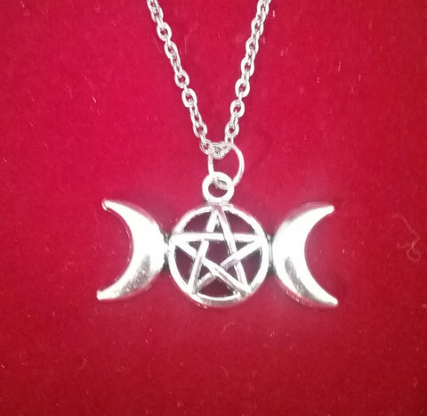 TRIPLE MOON PENTACLE NECKLACE