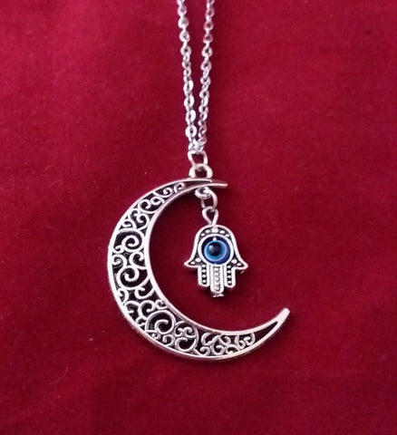 MOON AND HAMSA NECKLACE