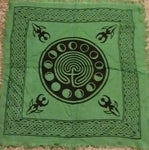 GREEN MOON PHASES ALTAR CLOTH