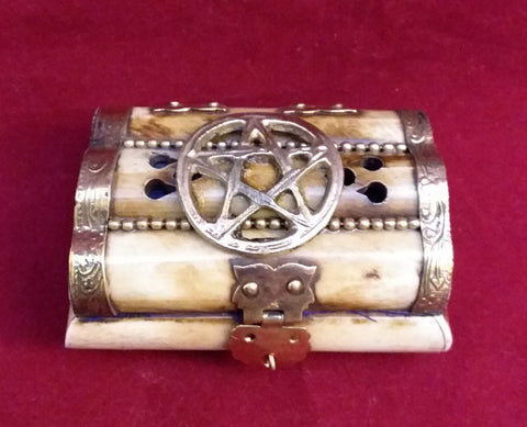 PENTACLE CARVED BONE BOX