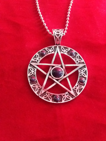 BLUE STONE PENTACLE NECKLACE