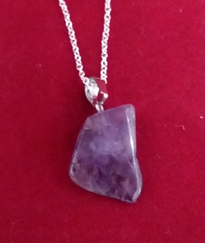 AMETHYST TUMBLED STONE NECKLACE