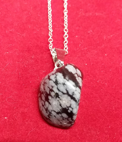 SNOWFLAKE OBSIDIAN TUMBLED STONE NECKLACE