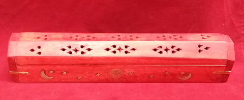 RED CELESTIAL COFFIN BOX INCENSE BURNER