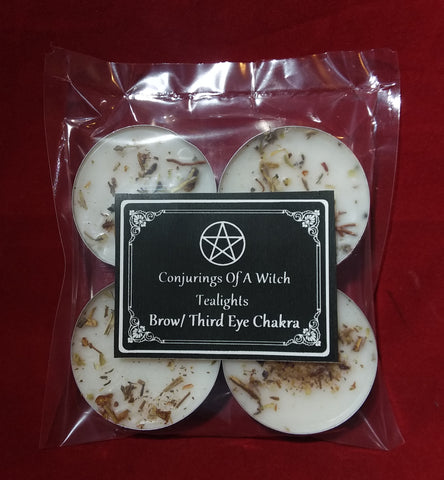 BROW/ THIRD EYE CHAKRA TEALIGHT SPELL CANDLES