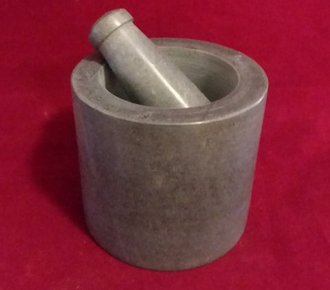 GRAY MORTAR AND PESTLE