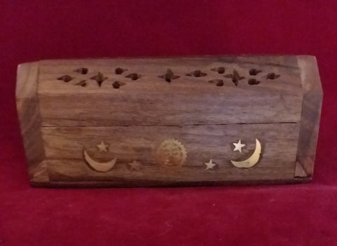 MOON AND STARS MINI COFFIN BOX INCENSE BURNER