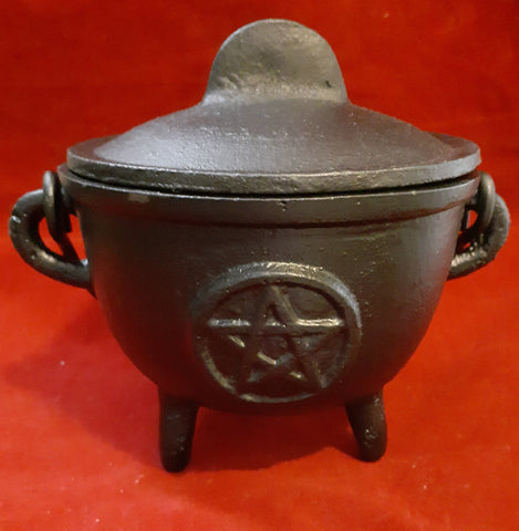 PENTACLE CAULDRON WITH LID (4.25d by 4.25h)
