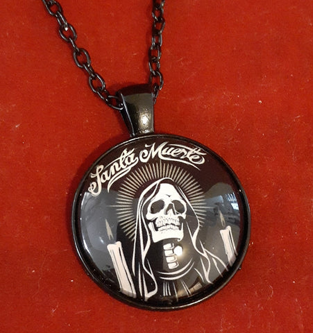 BLACK SANTA MUERTE NECKLACE