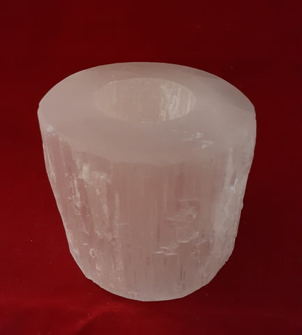 SELENITE CANDLE HOLDER CYLINDER SHAPED