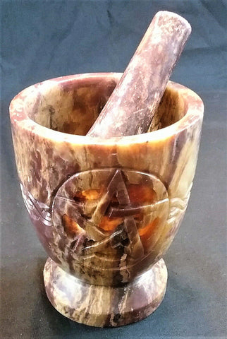 "PENTACLE KNOT 3"" MORTAR AND PESTLE"
