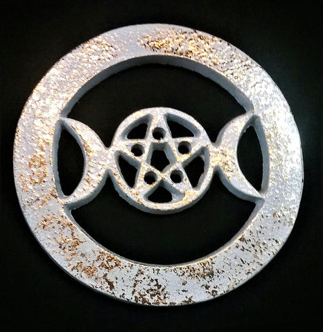 TRIPLE MOON/PENTACLE ALTAR TILE ANTIQUE FINISH