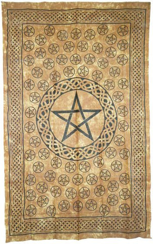 BROWN PENTACLE TAPESTRY