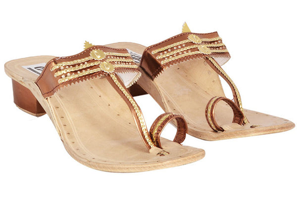 Women Kapsi Box Heel Copper Kolhapuri Chappal