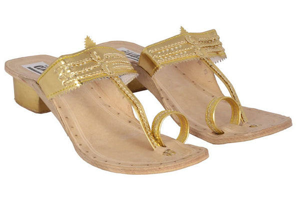 Women Leather Kapsi Box Heel Gold Kolhapuri Chappal